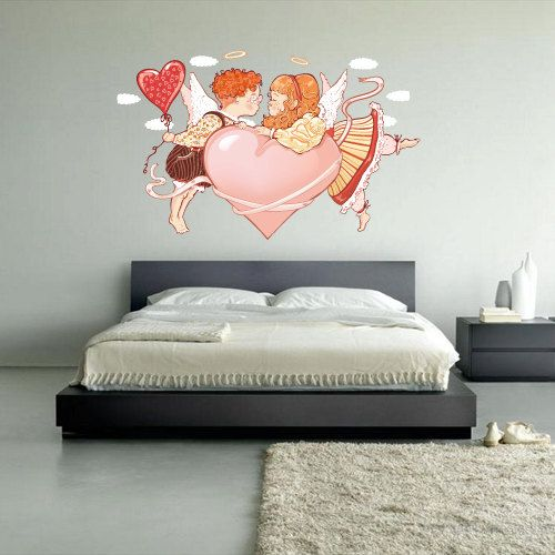 full color wall decal mural sticker decor art poster gift heart love lovers valentine kiss angels