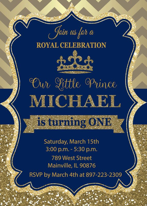 Prince Birthday Party Invitation First by PrettyPaperPixels