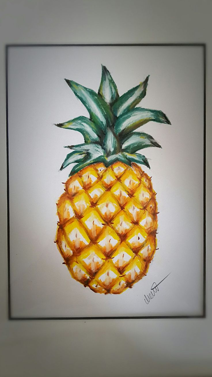 Pineapple drawing in crayons