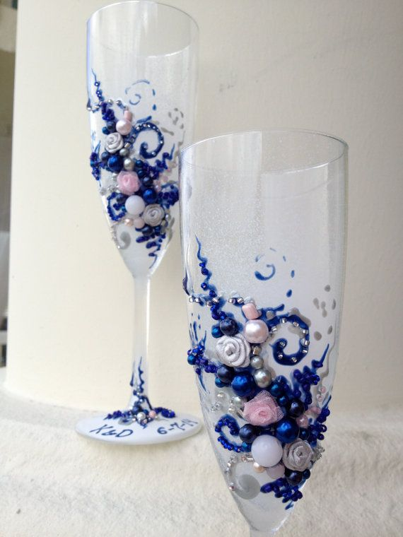 Wedding champagne glasses, hand decorated with fabric roses and pearls in royal blue, silver and light pink