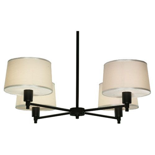 Robert Abbey Real Simple Matte Black Powder Four Light Chandelier On SALE
