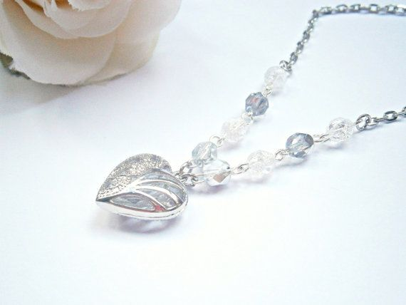 Silver Heart Necklace  Czech Glass Jewelry  by GlamorousSparkle
