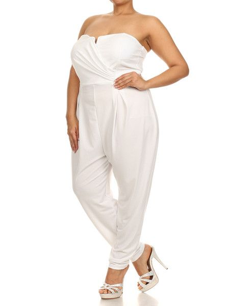 Plus Size White Jumpsuits and Rompers | Plus Size Strapless Cross Over White Jumpsuit