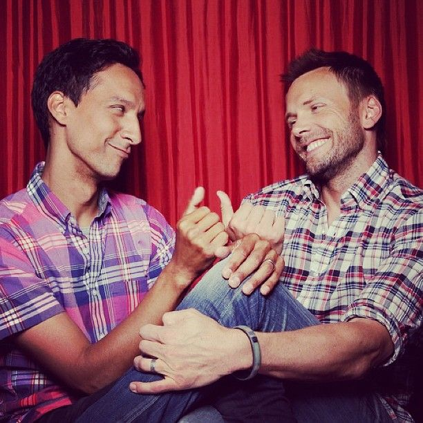 Danny Pudi and Joel McHale. In plaids.