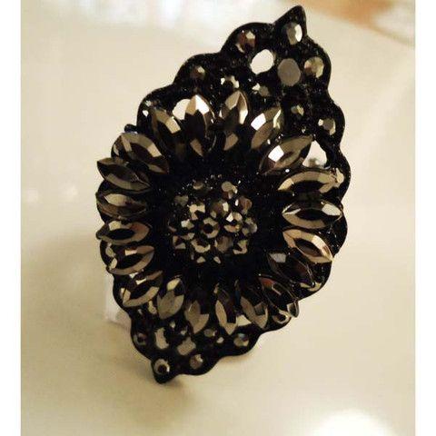 Ring Gunmetal Black Flower