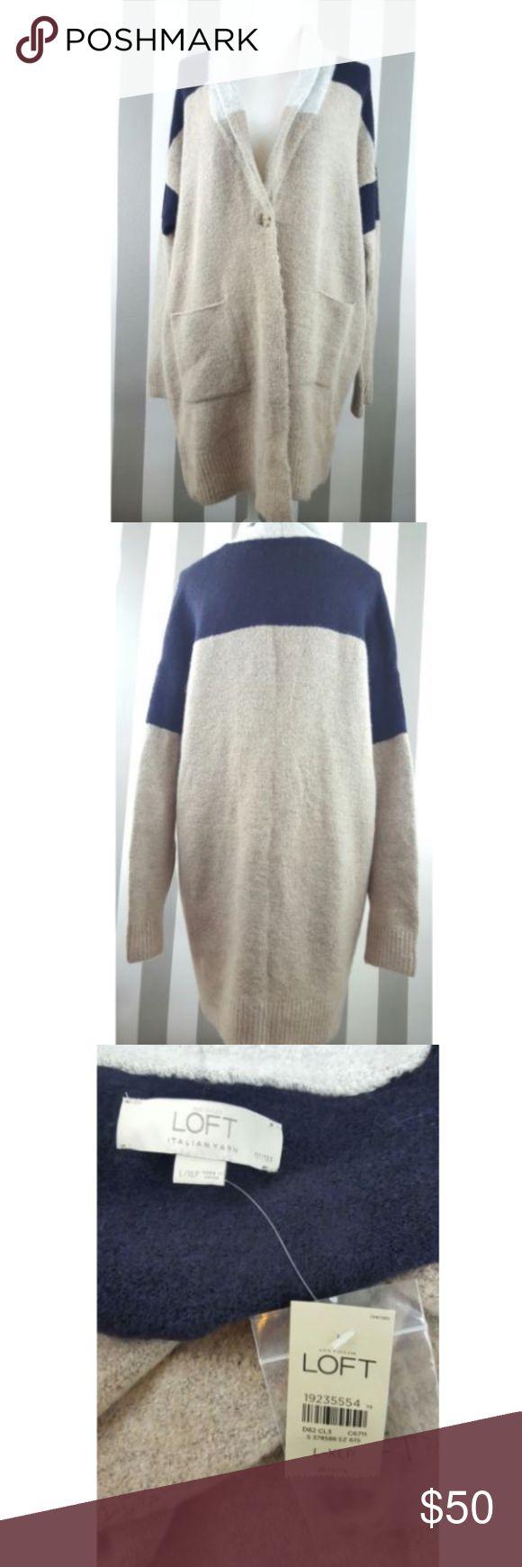 """Ann Taylor LOFT Large/XL Petite Cardigan NWT Ann Taylor LOFT Large/XL Petite Sweater   Italian Yarn   Colorblock   Long   Super Soft   Measurements: 24"""" armpit to armpit 32"""" length LOFT Sweaters Cardigans"""