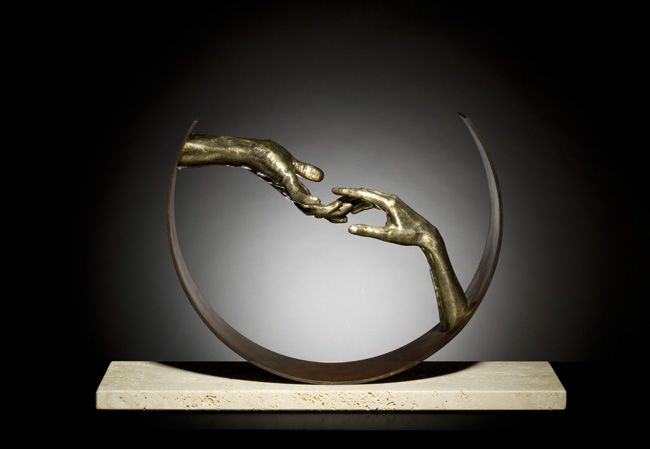 Lorenzo Quinn, Finding Love, Bronze and Travertine, Halcyon Gallery