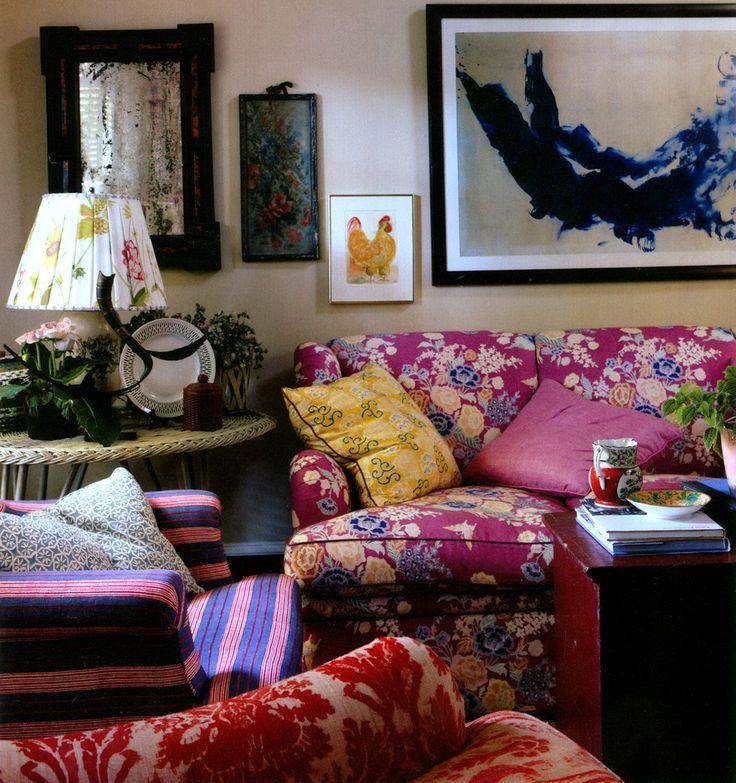 China Seas Macao sofa with Quadrille Fairie Enchantee pillow. Design by Jeffrey Bilhuber.