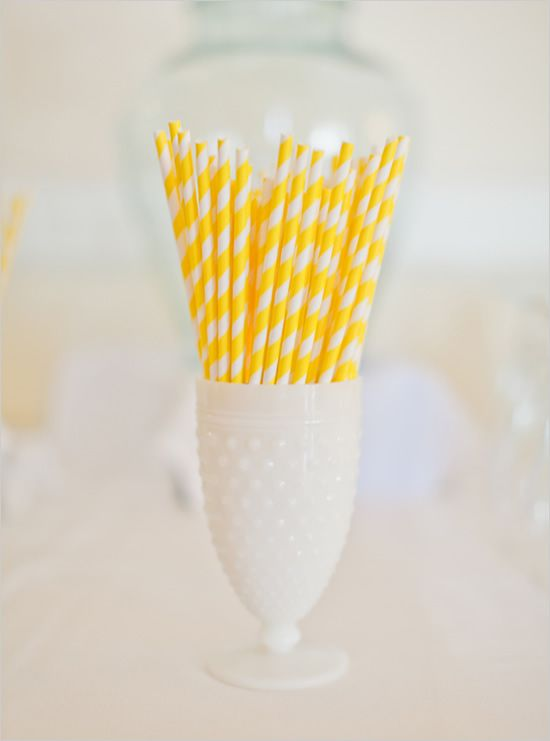 it's the little things. yellow stripped straws.