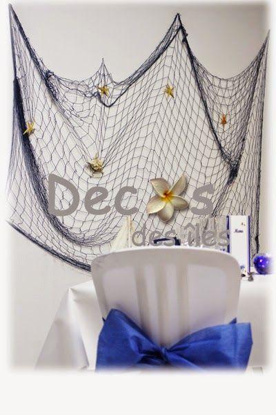 Ma décoration de mariage: Décoration de mariage thème mer et nacre grand filet de pêche déco bleu