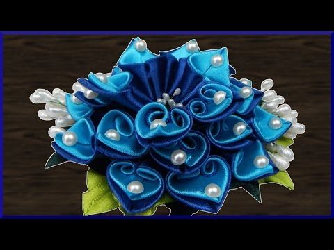 DIY Kanzashi   Haarblume aus Stoff basteln   Ribbon flower hair barrette   accessory - YouTube