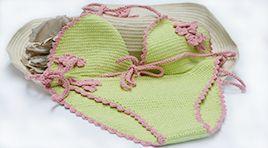 Crochet bikini made in cotton, silk and cashmere