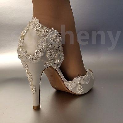 "3""4"" heel satin white ivory lace pearls open toe Wedding shoes bride size 5-9.5 #weddingshoes"