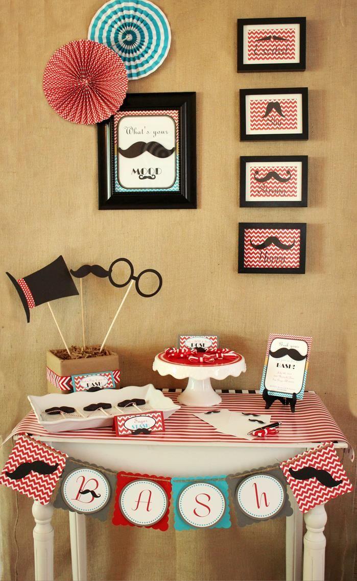 Mustache Party Ideas | Father Son Mustache Bash Party Planning Ideas Cake Idea Supplies Decor