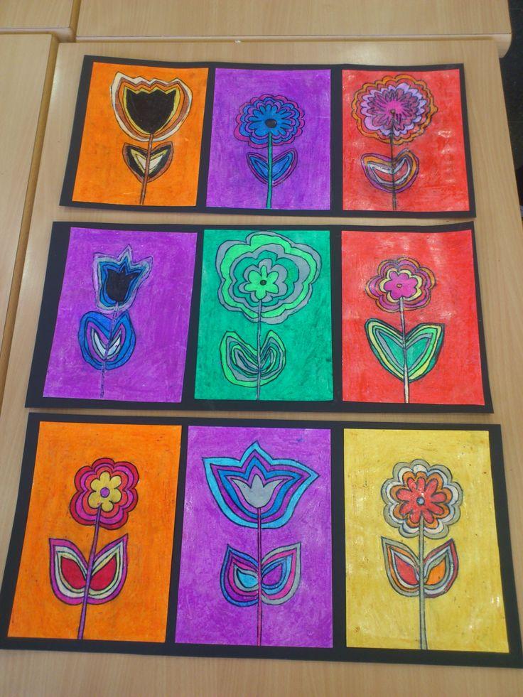 Flors amb retoladors i pintat amb ceres