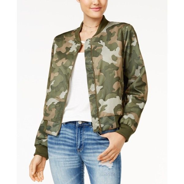 Hippie Rose Juniors' Bomber Jacket ($35) ❤ liked on Polyvore featuring outerwear, jackets, camo print, blouson jacket, bomber jacket, camouflage jacket, camo bomber jacket and flight jacket