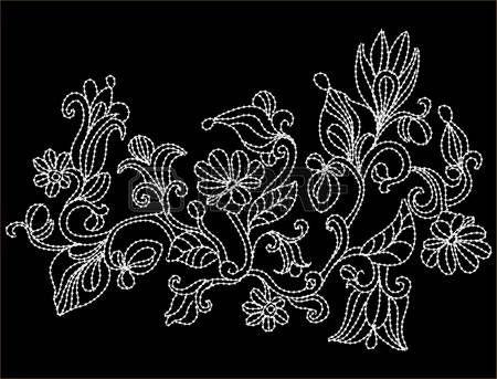 刺繍の形の花と抽象的な背景  イラスト・ベクター素材