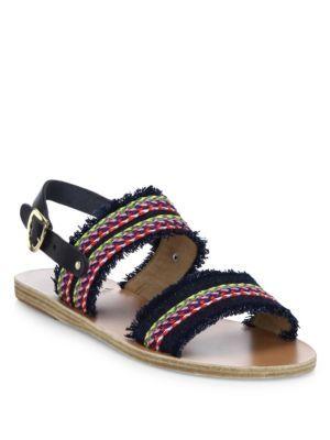 ANCIENT GREEK SANDALS Dinami Raffia Sandals. #ancientgreeksandals #shoes #sandals