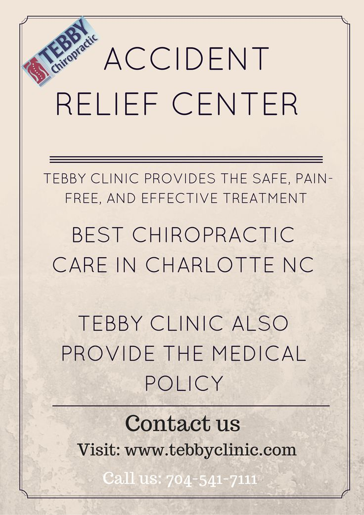 Tebby Clinic provides the safe, pain-free, and effective chiropractic treatment to the  patients. If you are injured in the auto car accident, we provide the best chiropractic care in Charlotte NC. We have the expert team in Chiropractic Care. If you in the Charlotte NC or in surrounding area then contact us: 704-541-7111 or visit: www.tebbyclinic.com