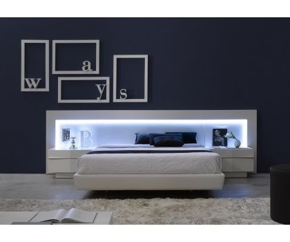 JNM- VALENCIA Modern White Lacquer Spain Platform Bed With LED lighting
