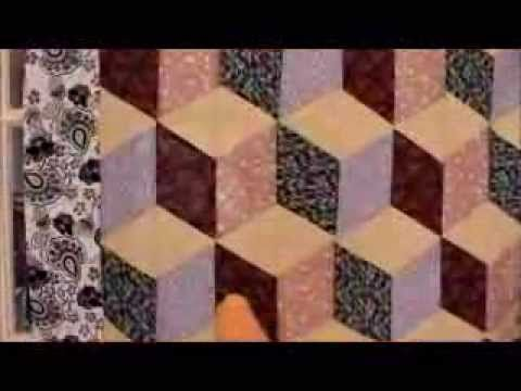 Free quilt patterns - simple tumbling blocks quilt video tutorial. Full pattern: http://www.ludlowquiltandsew.co.uk/free-quilt-and-sew-patterns/free-quilt-pa...