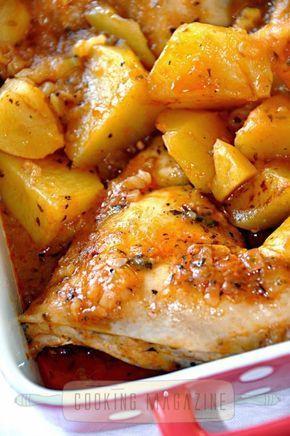 Cocina de Revista: POLLO EN SALSA DE TOMATE CON PATATAS/Cooking Magazine - Chicken in tomato sauce with roasted potatoes recipe. Cuban Recipe.