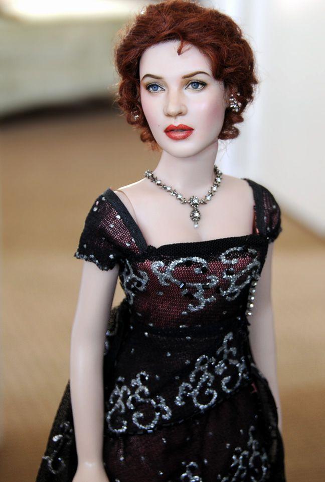 OOAK Franklin Mint doll art repaint KATE WINSLET as ROSE- TITANIC by NOEL CRUZ