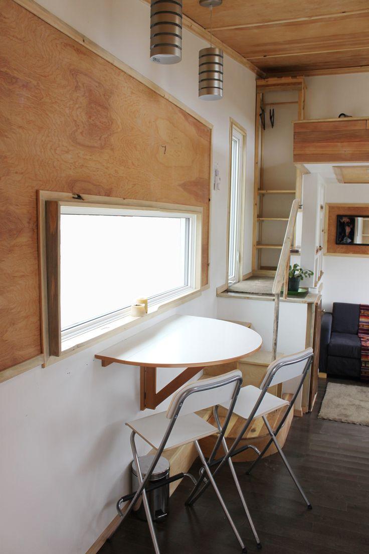 Modern tiny house on wheels in Whitehorse, Yukon, Canada.