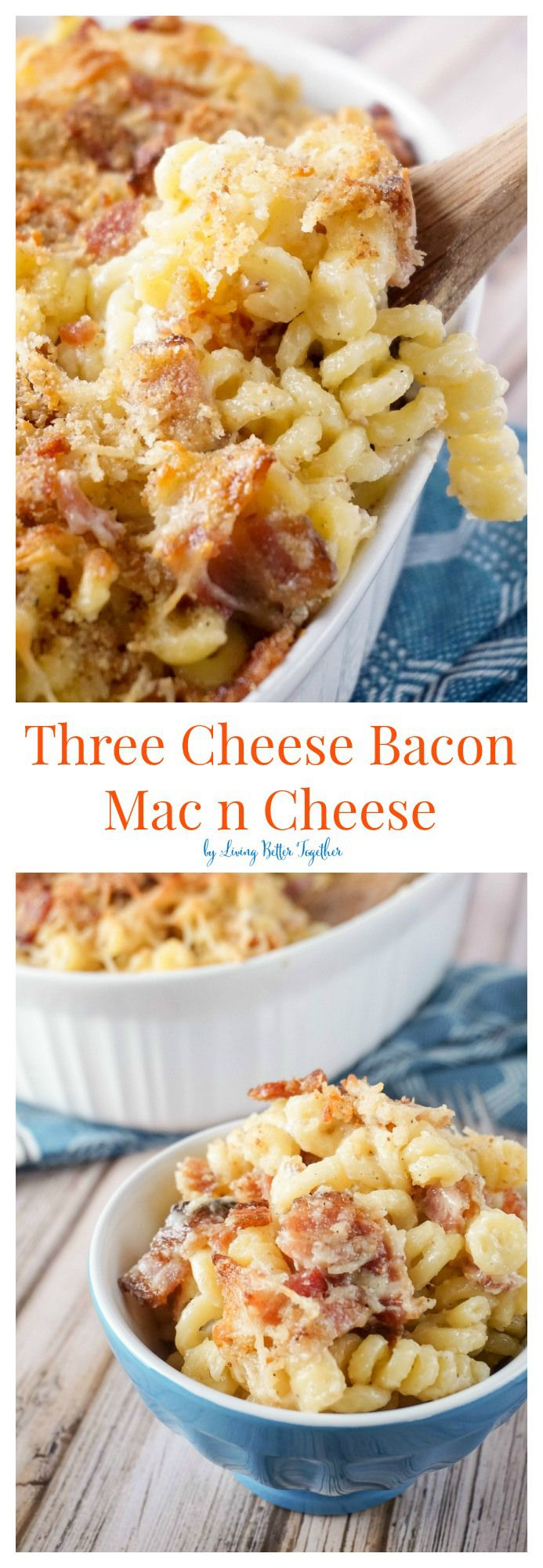 This Mac n Cheese is loaded up with crispy baked bacon and three different kinds of cheese, it's to die for! (Baking Goods Bacon)