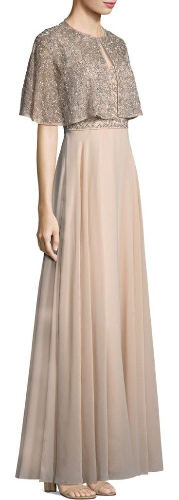 """beaded a-line gown and cape set by Aidan Mattox. Glimmering beads details a sweeping A-line dress finished with a crepe skirt and topped with a shimmering cape. Polyester. Spot clean. Imported. CAPE. Roundneck. Cape sleeves. Front hook-and-eye closure. About 13"""" from shoulder to hem. G... #aidanmattox #dresses #gowns"""