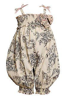 Little Girl's Summer Vintage Bohemian Inspired Clothes: Ivory Black Floral Toile Print Smocked Romper Outfit