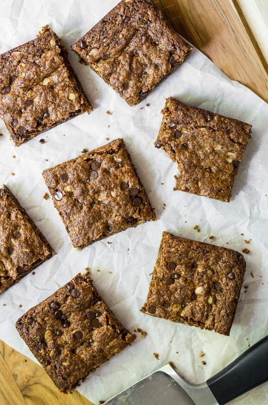 How To Go Vegan: 12 Easy Beginner Tips - Toffee Cinnamon Oatmeal Cookie Bars via @OhSheGlows | StyleCaster