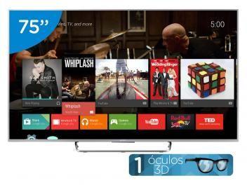 "Smart TV LED 3D 75"" Sony KDL-75W855C Full HD - Conversor Integrado 4 HDMI 2 USB Wi-fi 1 Óculos"