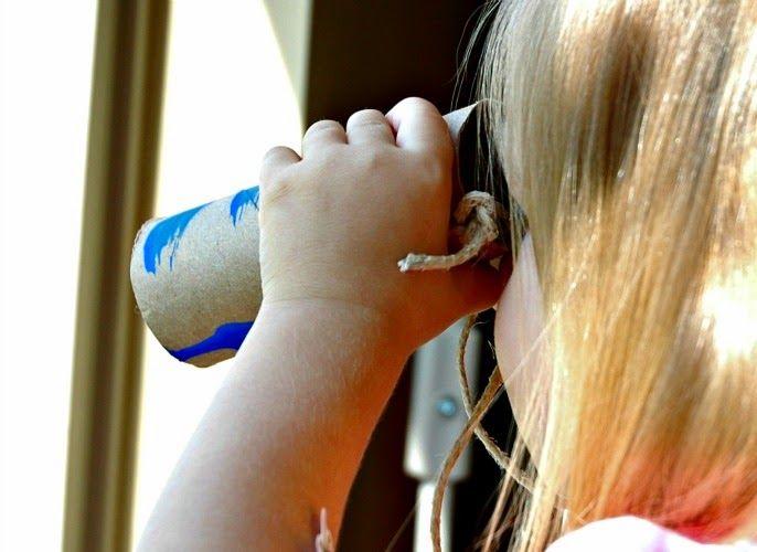 Five Senses Preschool Theme- Make binoculars to explore your sense of sight.  From Cutting Tiny Bites.  Easy craft!