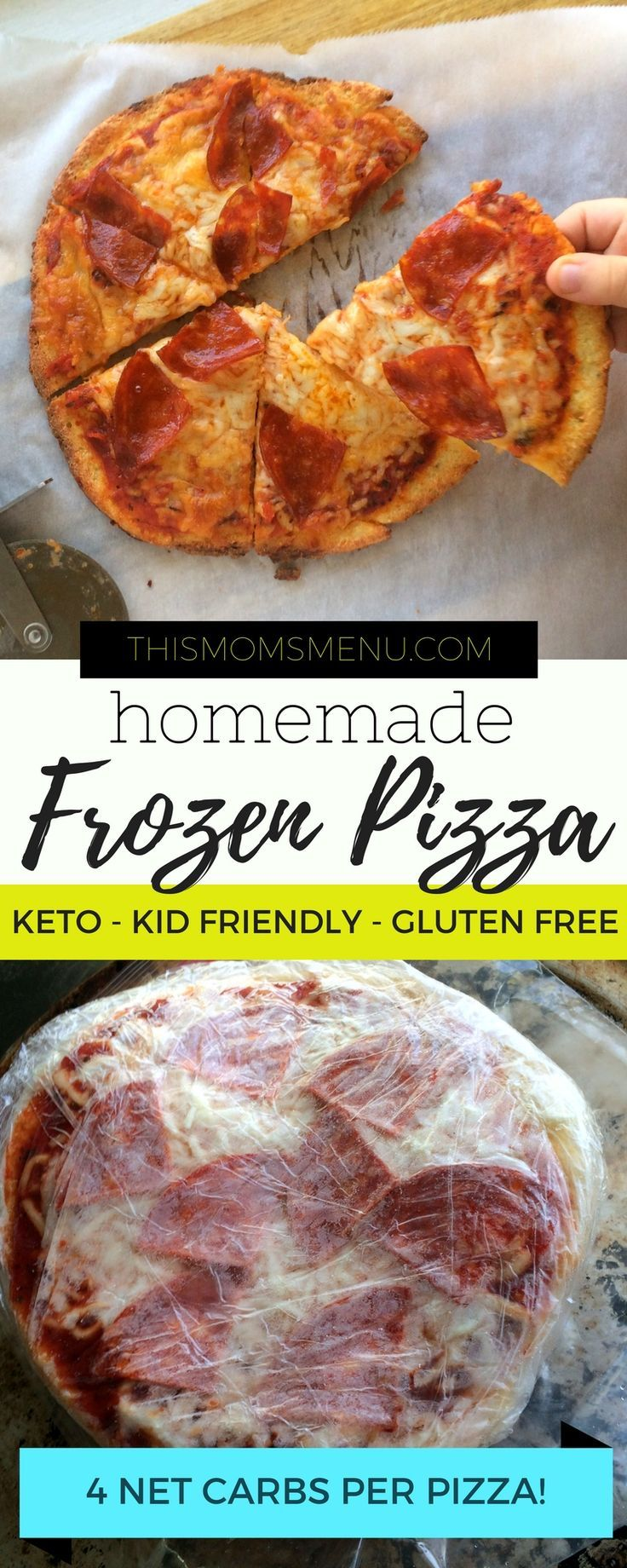 Homemade Frozen Pizza, Keto Pizza, Gluten free, grain free, DIY frozen pizza