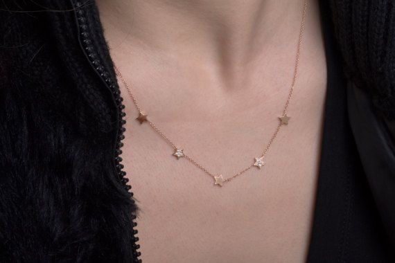 18k Stars Necklace, Diamond Necklace, Solid Gold Stars. Danelian Jewelry.  Solid gold star pendant. ALL CHAIN LENGTH SIZES AVAILABLE.