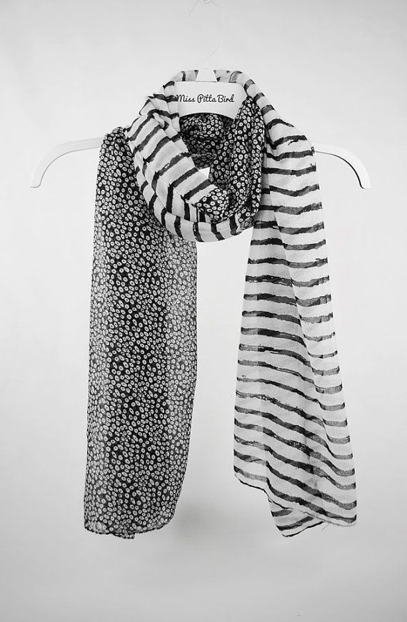 Black and White Scarf, Striped Scarf, Shawl, Cowl, Women's Scarves, Fashion Accessories, Large Scarves, gift for her, for mom (VS-15-06)