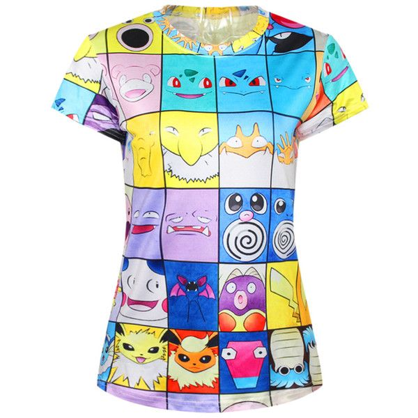 Blue Funny Womens Crew Neck Cartoon Pokemon Printed T-shirt ($19) ❤ liked on Polyvore featuring tops, t-shirts, shirts, blue, crewneck t-shirt, comic book, cartoon tees, cartoon shirts and crew neck t shirt