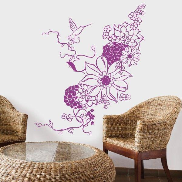 Floral Colibri -vinil autocolante decorativo de parede