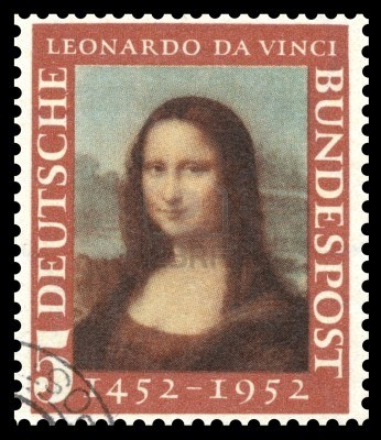 Germany postage stamp with a portrait image of the smiling Mona Lisa by the medieval Renaissance artist and inventor Leonardo Da Vinci Stock Photo