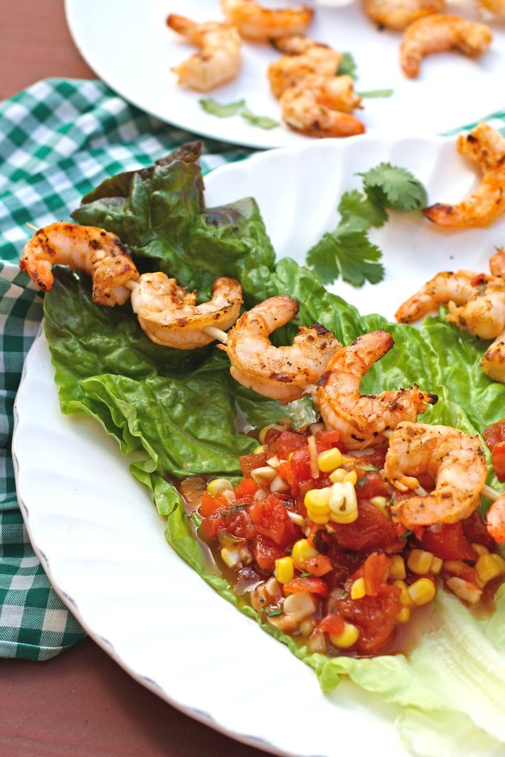 Spicy Grilled Shrimp Lettuce Wraps with Corn Salsa