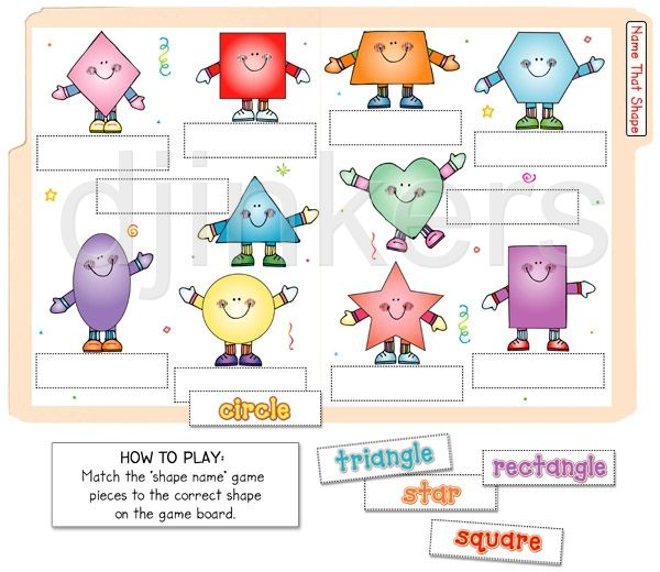 Printable file folder game to teach shapes & shape names with darling DJ Inkers graphics.