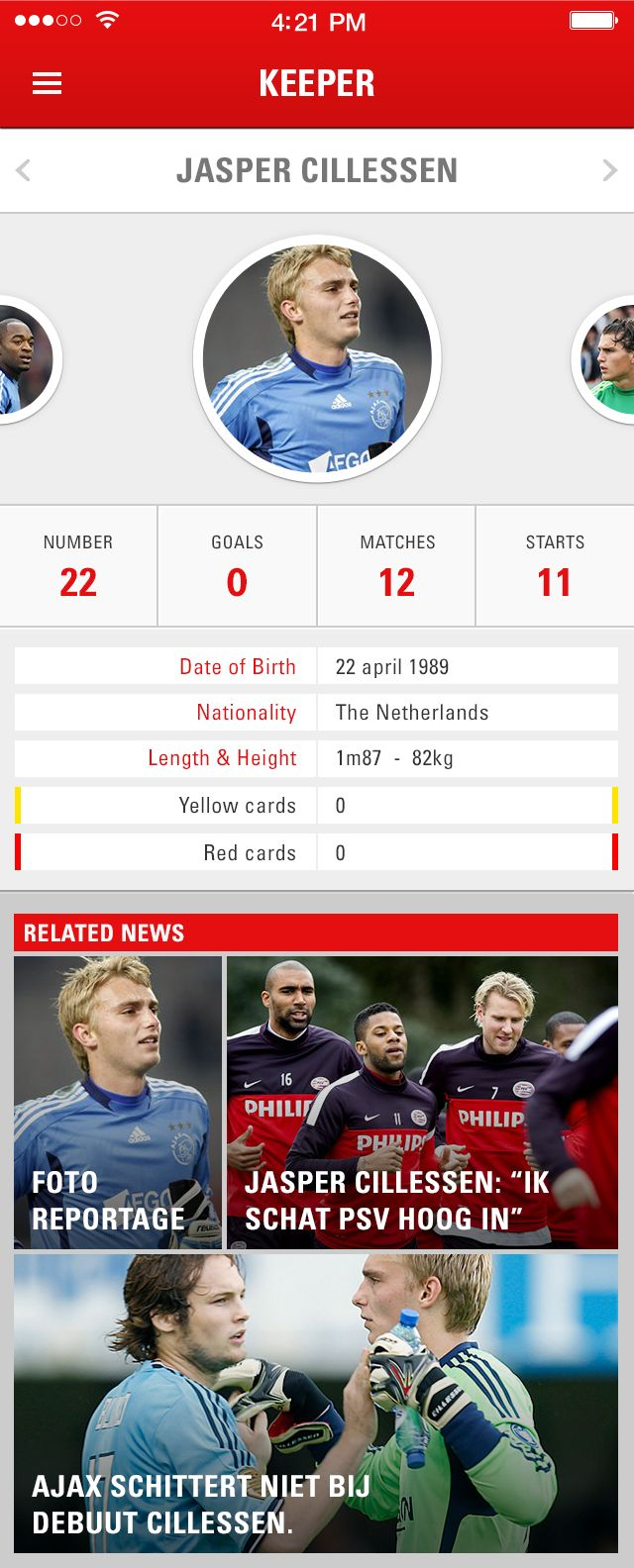Player-profile soccer iOS App