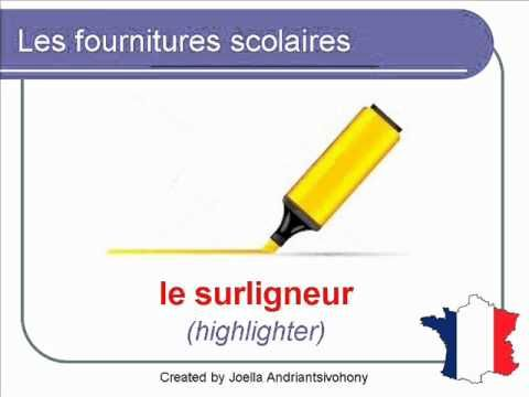 French Lesson 40 - Les fournitures scolaires (School stationery / suppli...
