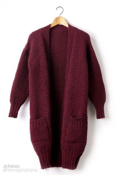 FREE PATTERN...Long Weekend Knit Cardigan - Patterns   Yarnspirations