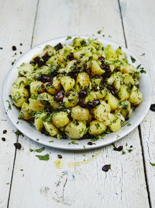 Cypriot-Style Potato Salad with Capers, Spring Onions and Olives