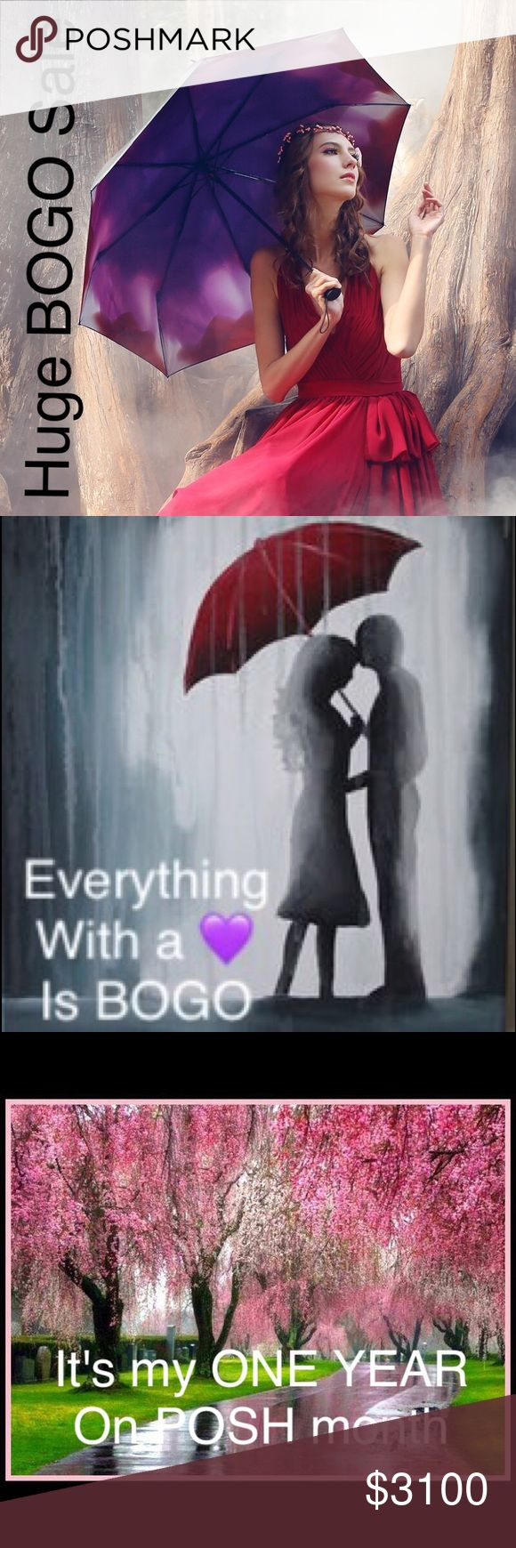 APRIL ALL MONTH Start bundling your sale items now. Get ready for my 1 year posh anniversary. Celebrate with me. Make an offer on your bundle by eliminating the free items. All items with 💜 are BOGO. Other