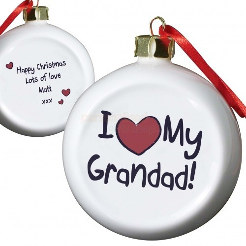 Personalised I love My Grandad Flat Bauble  from Personalised Gifts Shop - ONLY £9.95