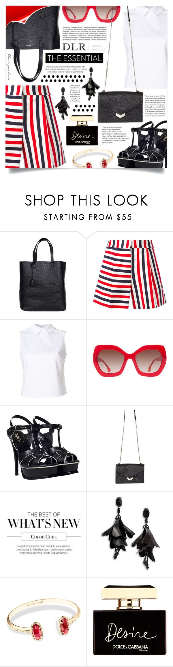 """SALES! DLRBOUTIQUE"" by gorgeautiful ❤ liked on Polyvore featuring Yves Saint Laurent, Thom Browne, Misha Nonoo, Alice + Olivia, Jimmy Choo, Cullen, Oscar de la Renta, Kendra Scott and Dolce&Gabbana"