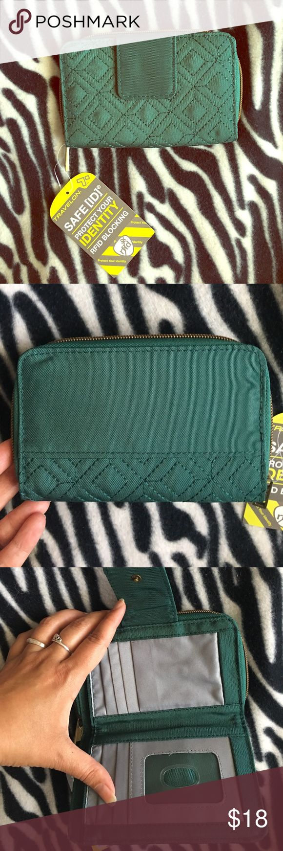 """🆕Travelon RFID Wallet New with tags. Beautiful dark green color, quilted front. RFID blocking wallet--protect your identity! 6"""" x 4"""" x 1"""". I bought a set of two, only need one. Travelon Bags Wallets"""